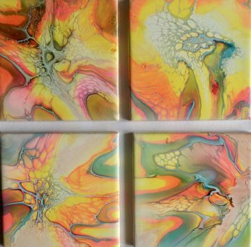 Set of 4 Hand Painted Ceramic Fantasy  Coasters Multi colours  made in UK